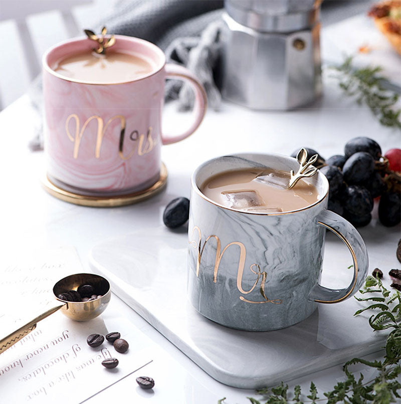 Mr And Mrs Ceramic Cup Set With Lid And Spoon-DINING + KITCHEN-PropShop24.com