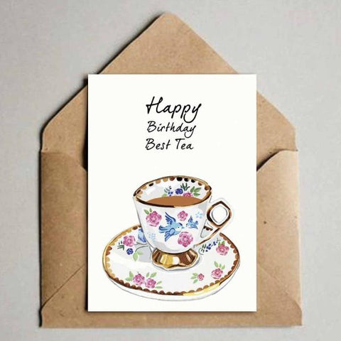 Greeting Card - Happy Birthday - Best Tea-Stationery-PropShop24.com