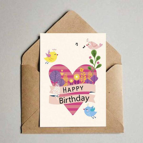 Greeting Card - Happy Birthday - Heart & Birds-Stationery-PropShop24.com