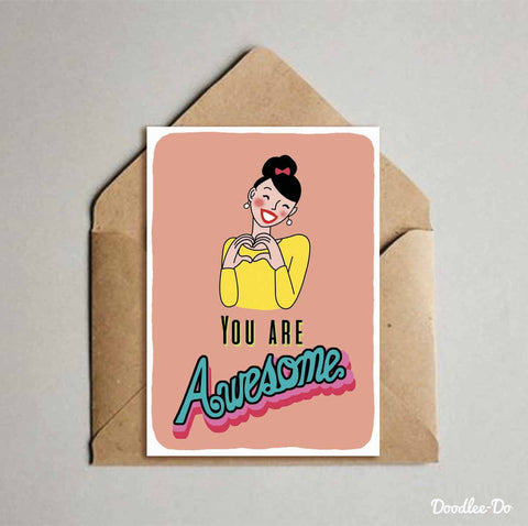 Greeting Card - girl - You are awesome-Stationery-PropShop24.com