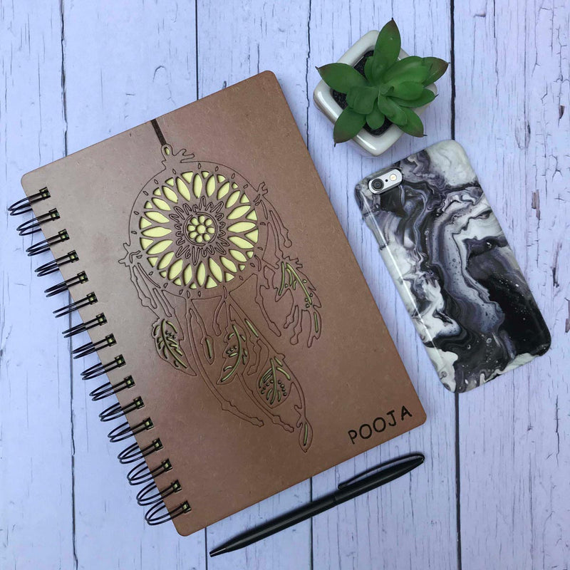Personalized - Wooden Diary - Dreamcatcher - C.O.D Not Available-NOTEBOOKS + PLANNERS-PropShop24.com
