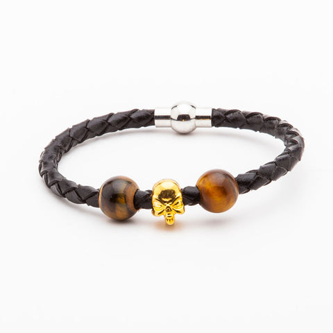 BRACELET - BLACK LEATHER WITH GOLD SKULL