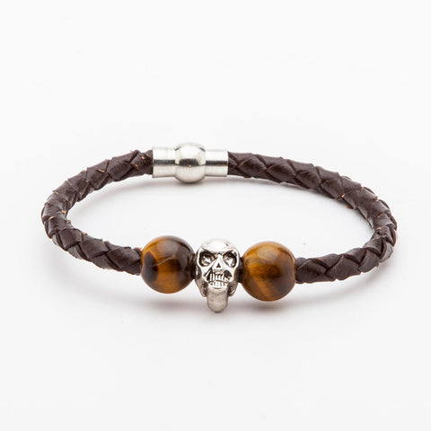 BRACELET - BROWN LEATHER WITH SLIVER SKULL