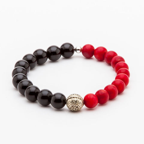 BRACELET - BLACK AND RED BEADS