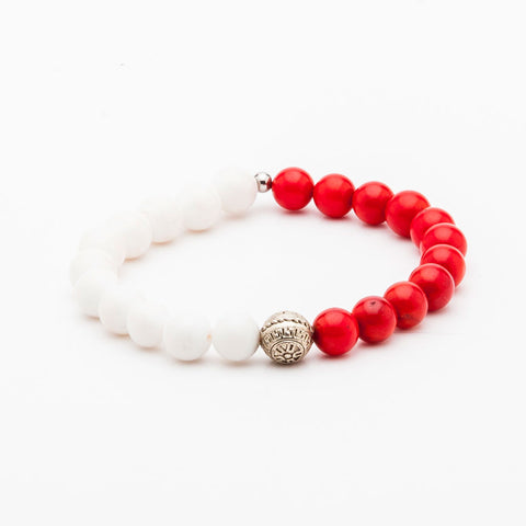 BRACELET - WHITE AND RED BEADS