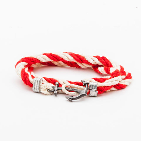 BRACELET - RED AND WHITE ANCHOR