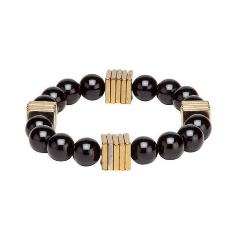 Bracelet - Squares - Black & Gold-Fashion-PropShop24.com
