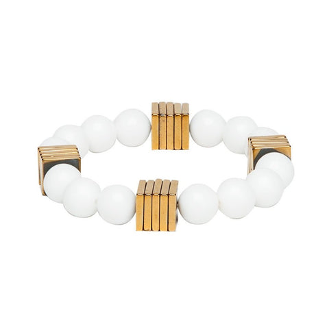 Bracelet - White & Golden-Fashion-PropShop24.com