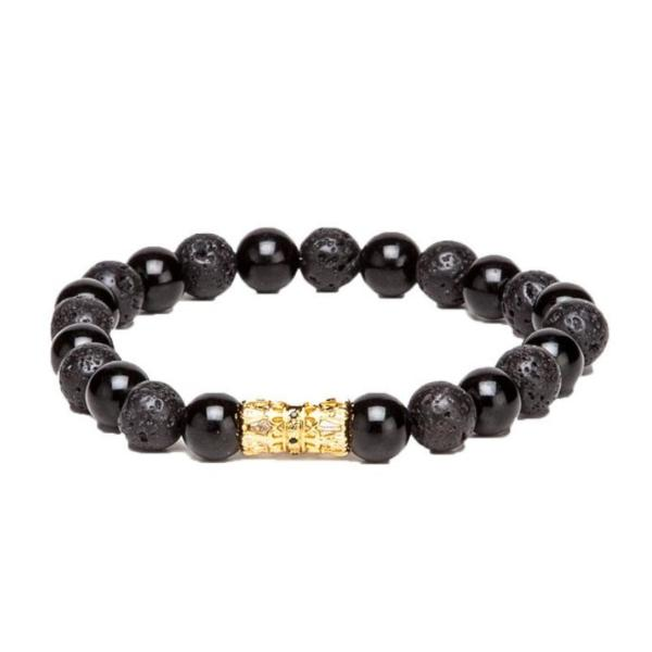 Bracelet - Cylindrical - Black & Gold-Fashion-PropShop24.com