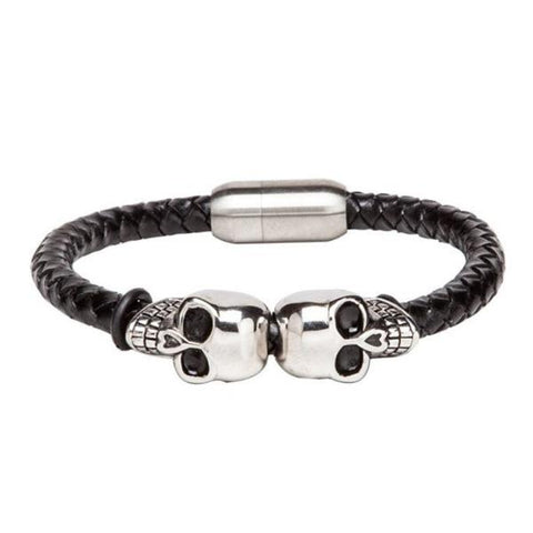 Bracelet - Skull Face - Black Leather-Fashion-PropShop24.com