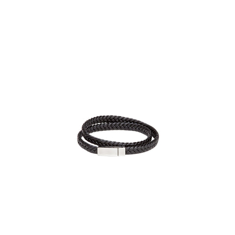 Bracelet - Long Braid - Black Leather-Fashion-PropShop24.com