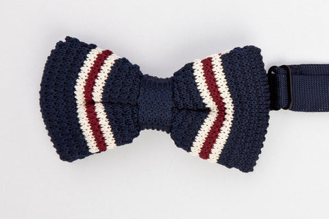 BOWTIE - NAVY BLUE WITH WHITE AND RED STRIPES