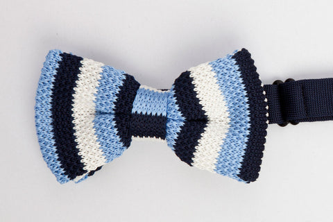 BOWTIE - BLUE BLACK WHITE STRIPES - KNITTED-Mens Week-PropShop24.com