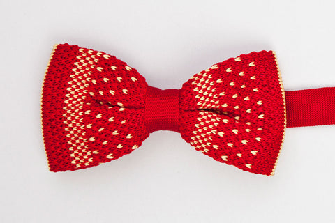BOWTIE - RED WITH YELLOW POLKA DOTS - KNITTED-Mens Week-PropShop24.com