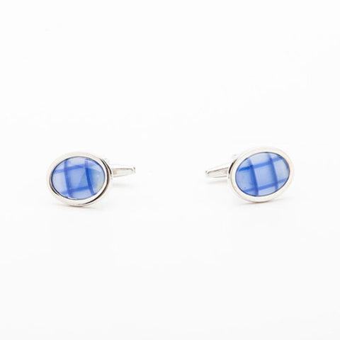 Cufflinks - BLUE CHECK OVAL