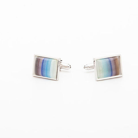 Cufflinks - BROWN & BLUE RECTANGLE