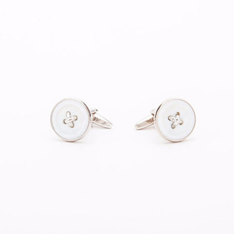 Cufflinks - WHITE BUTTON
