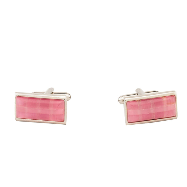 Cufflinks - Rectangle Pink Checks Stone-Fashion-PropShop24.com