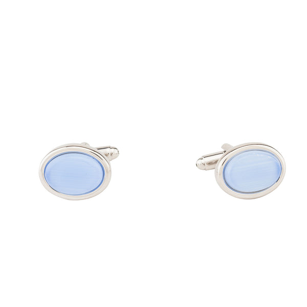 Cufflinks - Sky Blue Stone Oval-Fashion-PropShop24.com