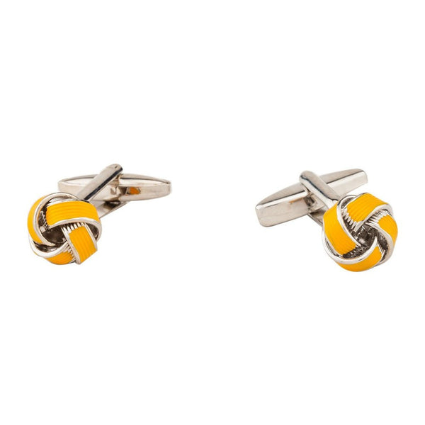 Cufflinks - Yellow Lined Silk Knot-Fashion-PropShop24.com