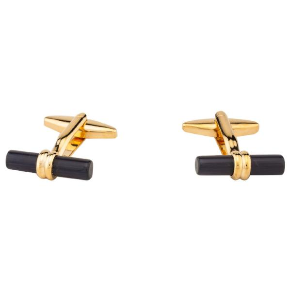 Cufflinks - Black Bar With Golden Body-Fashion-PropShop24.com