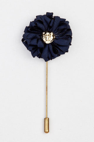 LAPEL PIN - NAVY BLUE FLOWER WITH DANGER SIGN