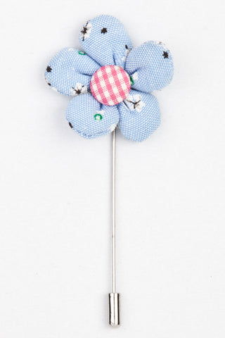 LAPEL PIN - SKY BLUE FLORAL