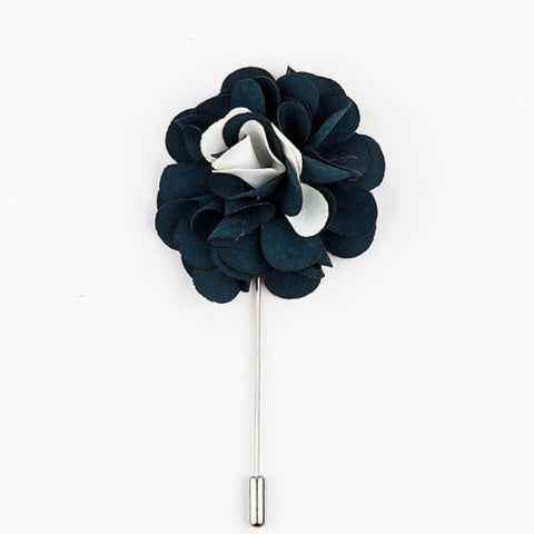 LAPEL PIN - GREEN WHITE FLOWER