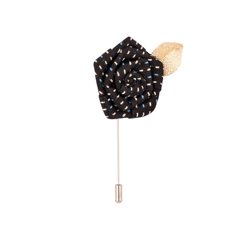 Lapel Pin - Black Rose With Golden Leaf-Fashion-PropShop24.com
