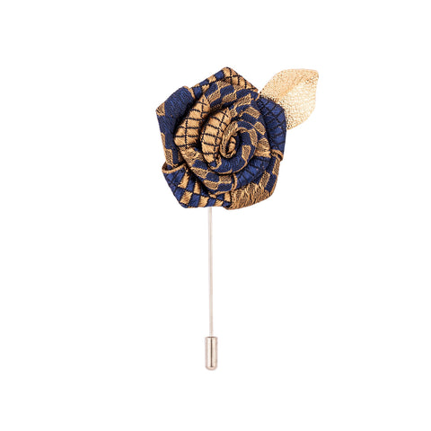 Lapel Pin - Navy Blue & Brown Rose With Golden Leaf-Fashion-PropShop24.com