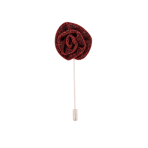 Lapel Pin - Metallic Red Flower-Fashion-PropShop24.com