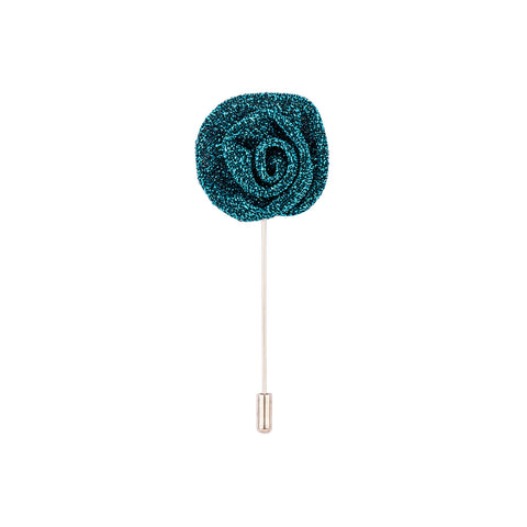 Lapel Pin - Metallic Turquoise Blue Flower-Fashion-PropShop24.com