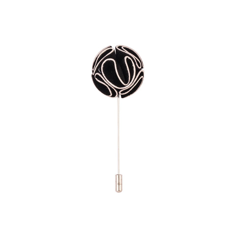 Lapel Pin - Black Round Flower-Fashion-PropShop24.com