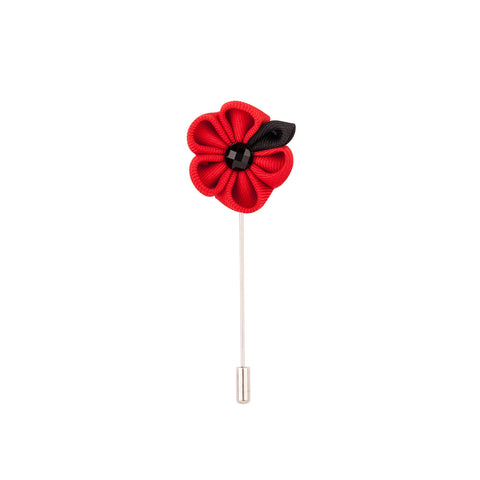 Lapel Pin - Red Flower With Black Petal-Fashion-PropShop24.com