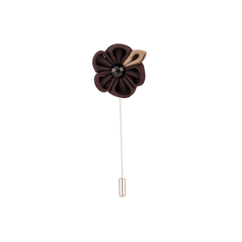 Lapel Pin - Black Flower With Brown Petal-Fashion-PropShop24.com