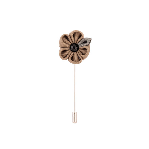 Lapel Pin - Brown Flower With Grey Petal-Fashion-PropShop24.com