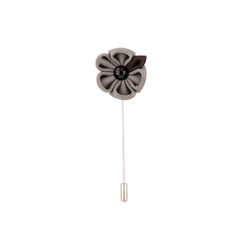 Lapel Pin - Grey Flower With Black Petal-Fashion-PropShop24.com