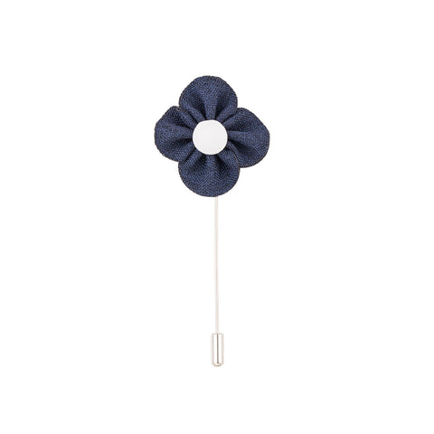 Lapel Pin - Navy Buttercup Flower-Fashion-PropShop24.com