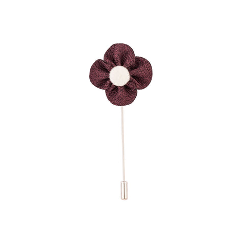 Lapel Pin - Maroon Buttercup Flower With Woolen Floral Disk-Fashion-PropShop24.com