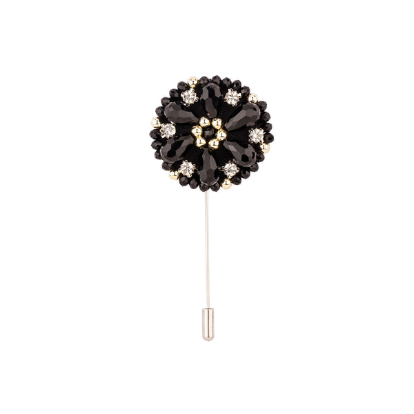 Lapel Pin - Black With Beads And Diamond-Fashion-PropShop24.com