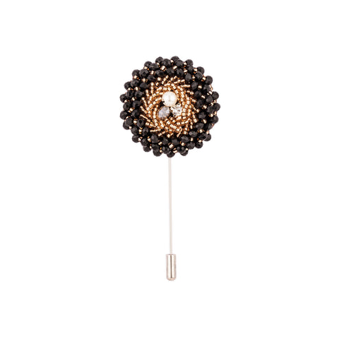 Lapel Pin - Black And Golden Beads-Fashion-PropShop24.com