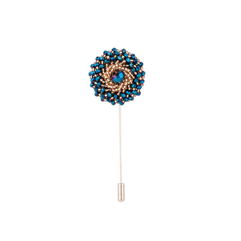 Lapel Pin - Blue Beads With Gold Design-Fashion-PropShop24.com