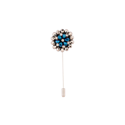 Lapel Pin - Silver & Blue Beads With Diamond Design-Fashion-PropShop24.com