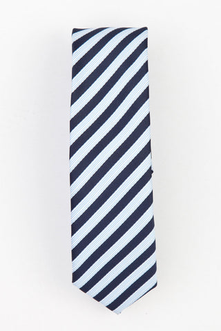 TIE - KINITTED - WHITE AND NAVY BLUE STRIPES
