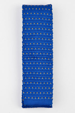TIE - KINITTED - BLUE AND YELLOW DOTS