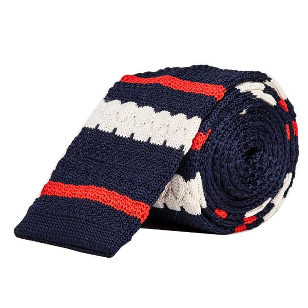 Knitted Tie - Navy Blue,Red & White-Fashion-PropShop24.com