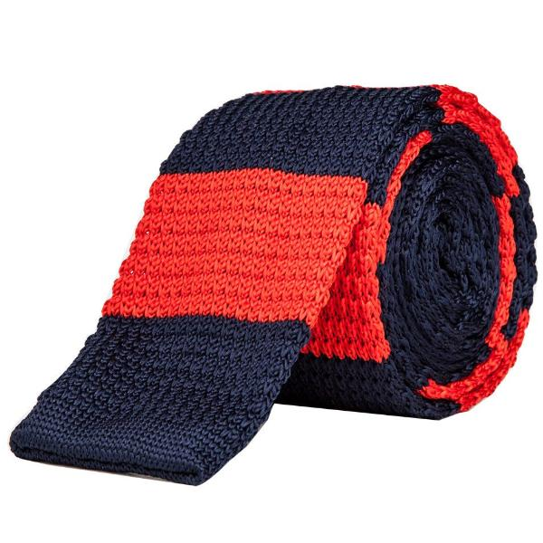 Knitted Tie - Red & Navy Blue-Fashion-PropShop24.com