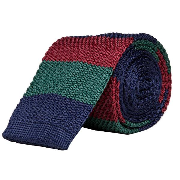 Knitted Tie - Navy Blue, Green & Maroon-Fashion-PropShop24.com