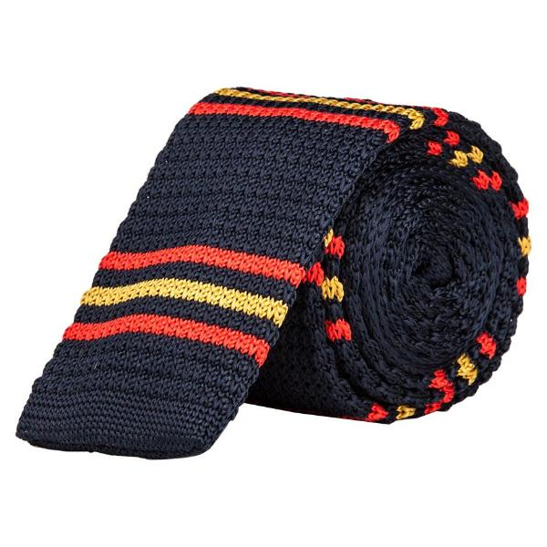 Knitted Tie - Navy Blue With Red & Yellow Lines-Fashion-PropShop24.com