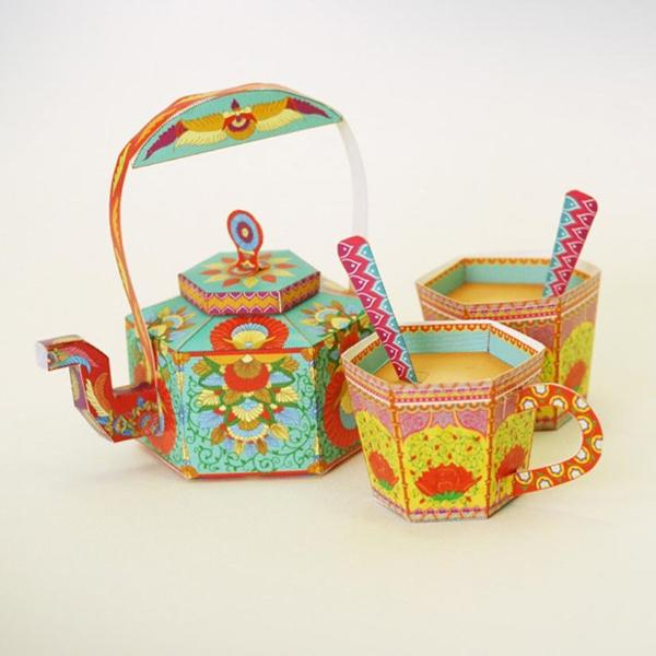 DIY MASALA CHAI KETTLE AND CUPS - SET OF 3 - PAPER DIY GIFT-STATIONERY-PropShop24.com